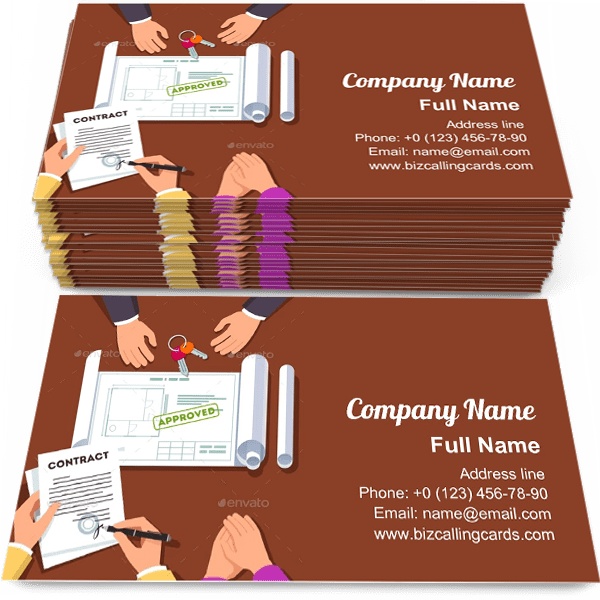 Sample of Signing Apartment Contract business card design for advertisements marketing ideas and promote apartment renovation branding identity