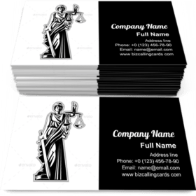Silhouette Statue of Justice Business Card Template