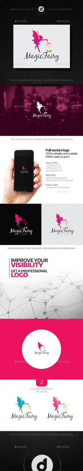 Silhouette of Fairy Logo Template for Your glamour store Business Card