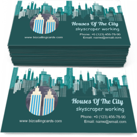 Silhouettes of Houses of the City Business Card Template