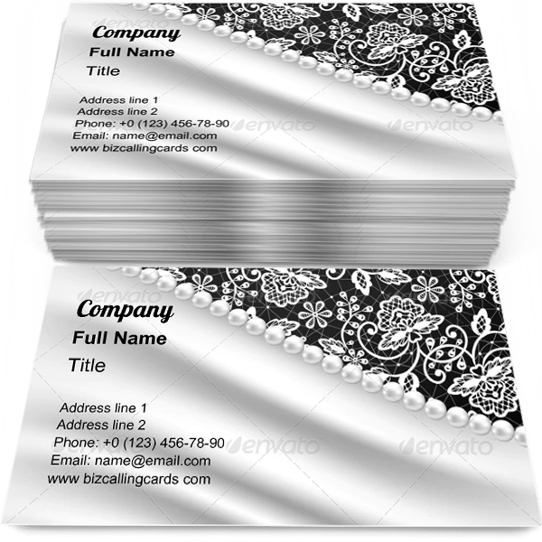 Sample of Silk Drapery and Pearl Necklace business card design for advertisements marketing ideas and promote Wedding branding identity
