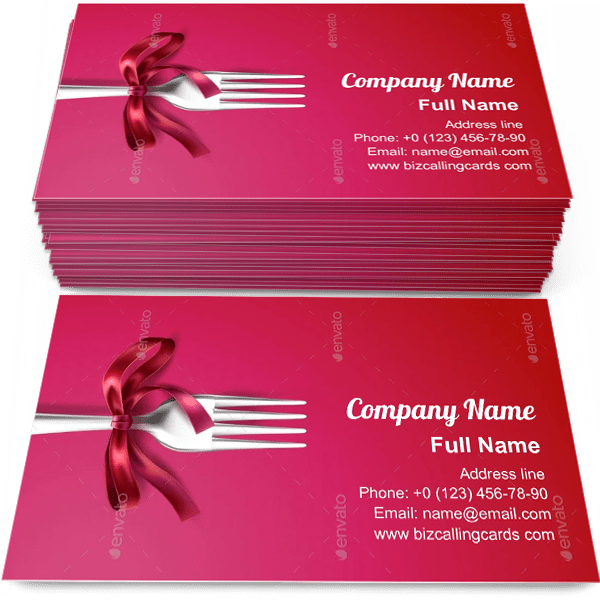 Silver Fork with Ribbon Business Card Template