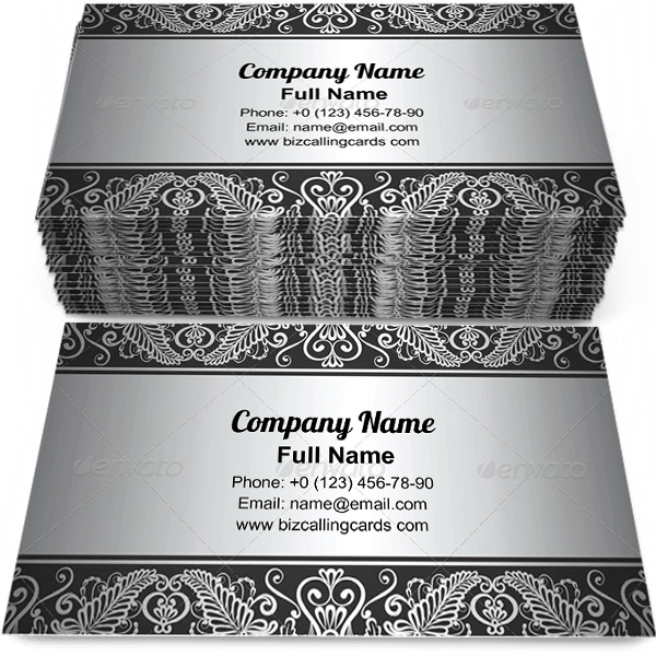 Create Online Silver Jewelry Frame Business Card Template