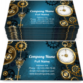 Silver key and clock Business Card Template