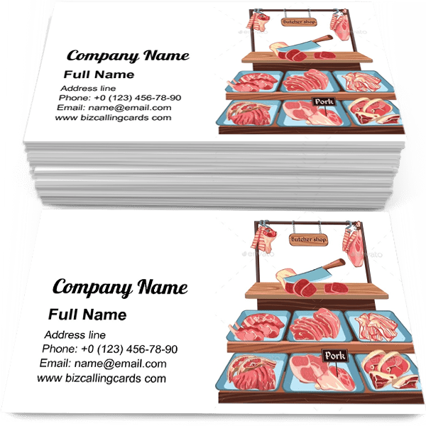 Sample of Sketch Butcher Shop calling card design for advertisements marketing ideas and promote meatman service branding identity