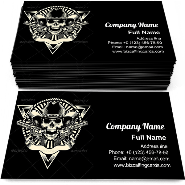 Sample of Skull With Revolver business card design for advertisements marketing ideas and promote wild west branding identity