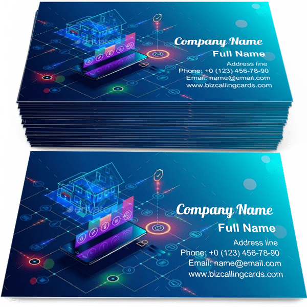 Sample of Smart Home with Internet calling card design for advertisements marketing ideas and promote house Protection branding identity