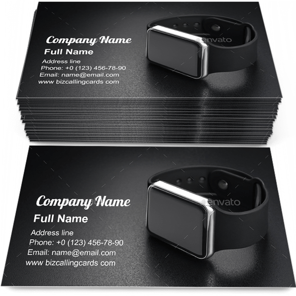 Sample of Smart wrist watches business card design for advertisements marketing ideas and promote device branding identity