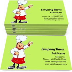 Smiling Cook Cartoon Business Card Template