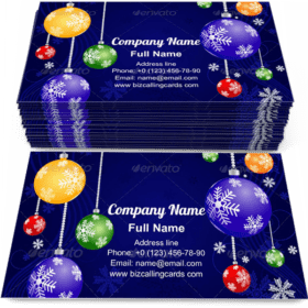 Snowflakes and Christmas decorations Business Card Template