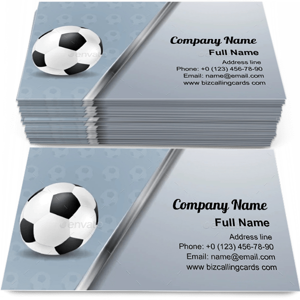 Sample of Soccer With Metallic Stripe calling card design for advertisements marketing ideas and promote football branding identity