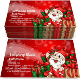 Sparkling christmas with Santa Claus Business Card Template