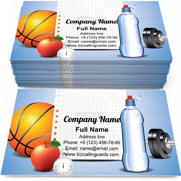 Sample of Sport Items with Paper calling card design for advertisements marketing ideas and promote fitness trainer branding identity