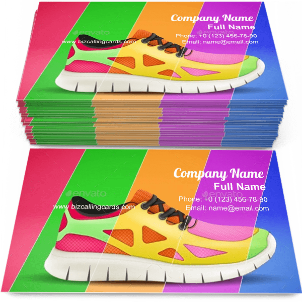 Sample of Sporting sneakers calling card design for advertisements marketing ideas and promote sneakers footwear branding identity