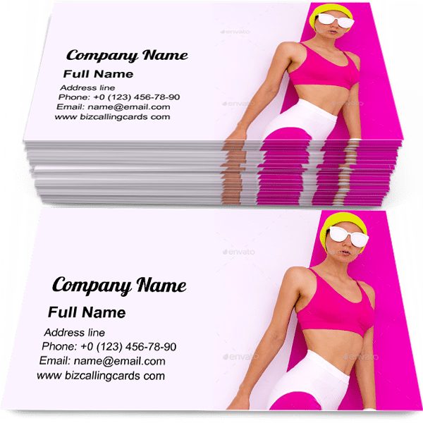 Sample of Sports fashion Lady business card design for advertisements marketing ideas and promote beach style branding identity