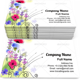 Spring floral with butterfly Business Card Template