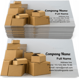 Stack of cardboard boxes Business Card Template