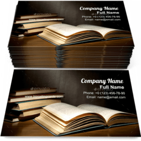 Stack of old books Business Card Template