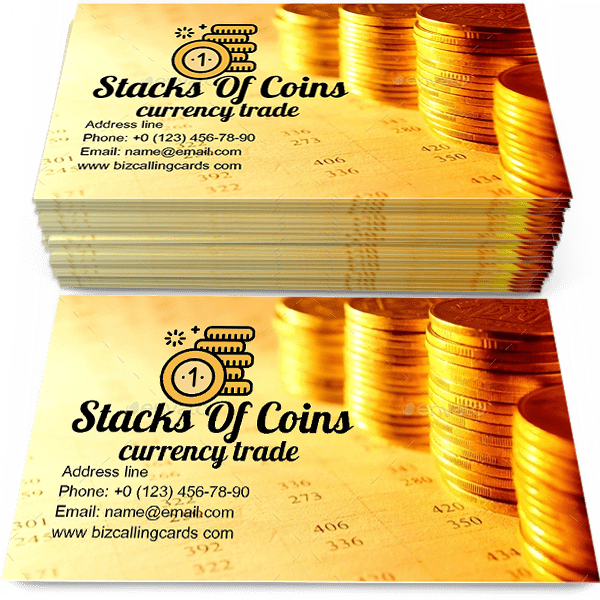 Sample of Stacks of coins calling card design for advertisements marketing ideas and promote currency trade branding identity