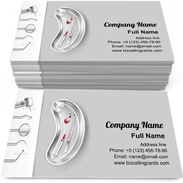Sample of Stainless Dental Tools calling card design for advertisements marketing ideas and promote dental healthcare branding identity
