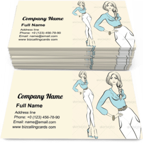 Standing Woman Emotions Business Card Template