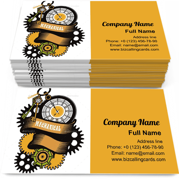 Sample of Steampunk Mechanism business card design for advertisements marketing ideas and promote pocket watches branding identity