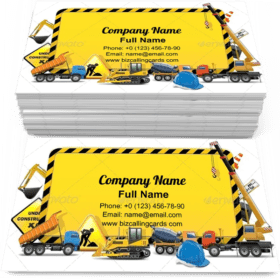 Striped Construction Board Business Card Template