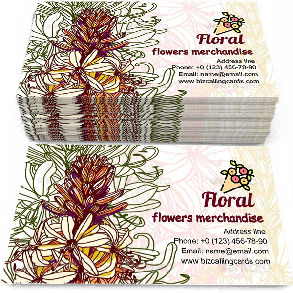 Sample of Stylish beautiful floral calling card design for advertisements marketing ideas and promote flowers merchandise service branding identity