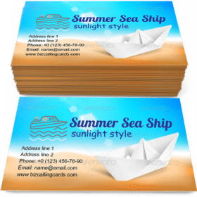 Summer Sea and Ship Business Card Template