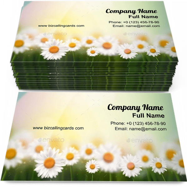 Sample of Summer with camomiles business card design for advertisements marketing ideas and promote camomiles branding identity