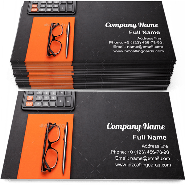 Sample of Supplies and calculator business card design for advertisements marketing ideas and promote paperwork branding identity