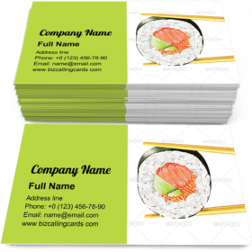Sushi Roll in Chopsticks Business Card Template