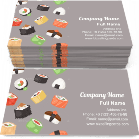 Sushi Seamless Pattern Business Card Template