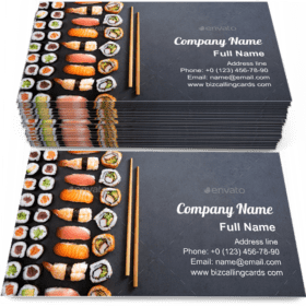 Sushi rolls and nigiri Business Card Template