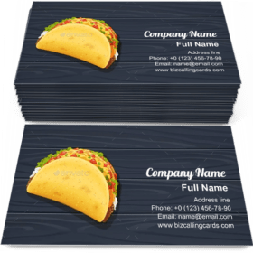 Tacos with Meat and Vegetable Business Card Template