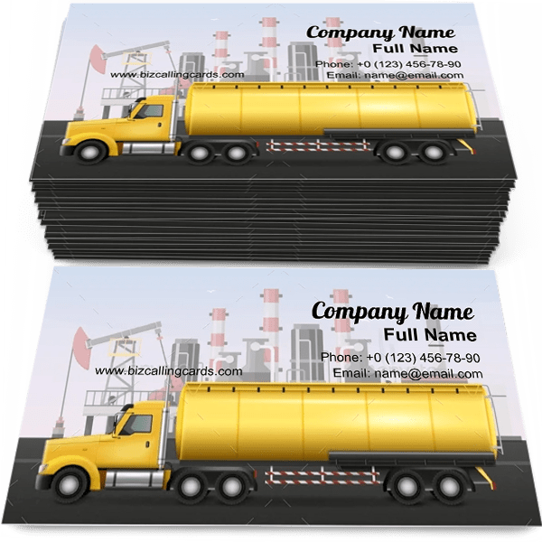 Sample of Tank for oil transportation business card design for advertisements marketing ideas and promote refining factory branding identity