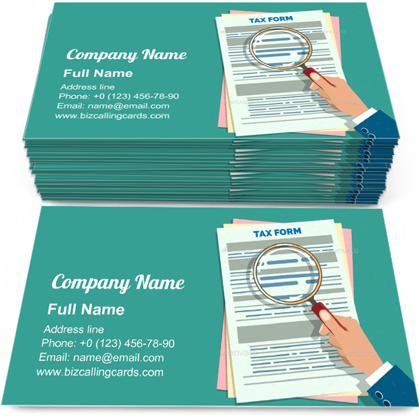 Sample of Tax Form Audit business card design for advertisements marketing ideas and promote audition branding identity