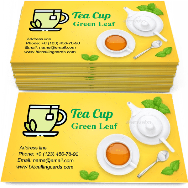 Sample of Tea Cup and Green Leaf calling card design for advertisements marketing ideas and promote Tea time branding identity