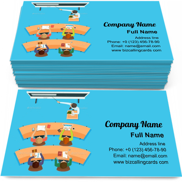 Teacher standing and pointing Business Card Template