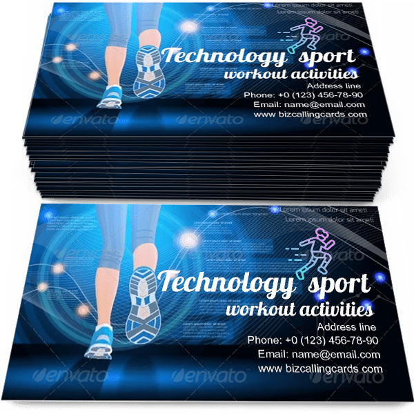 Sample of Technology sport calling card design for advertisements marketing ideas and promote workout branding identity