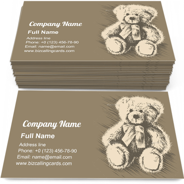 Sample of Teddy Bear Toy calling card design for advertisements marketing ideas and promote doll branding identity
