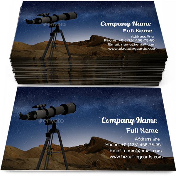 Sample of Telescope on a tripod business card design for advertisements marketing ideas and promote astronomy branding identity