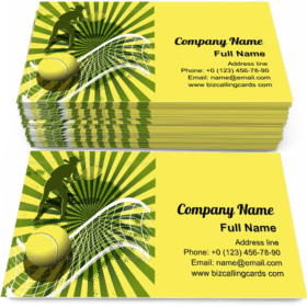 Tennis ball on green Business Card Template