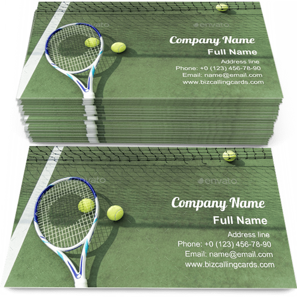 Sample of Tennis balls on court business card design for advertisements marketing ideas and promote tennis match branding identity