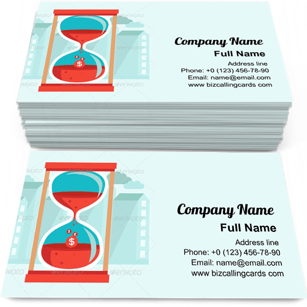 Sample of Time is Money calling card design for advertisements marketing ideas and promote time management branding identity
