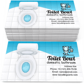 Toilet Bowl with Open Cover Business Card Template