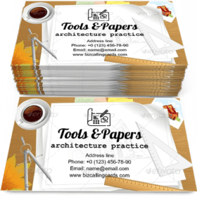 Tools and Papers with Sketches Business Card Template