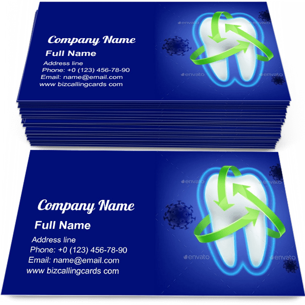 Sample of Tooth Protection Concept calling card design for advertisements marketing ideas and promote dentist branding identity