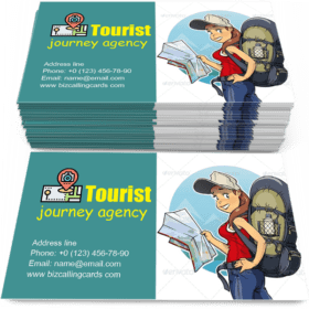 Tourist Girl with Rucksack Business Card Template