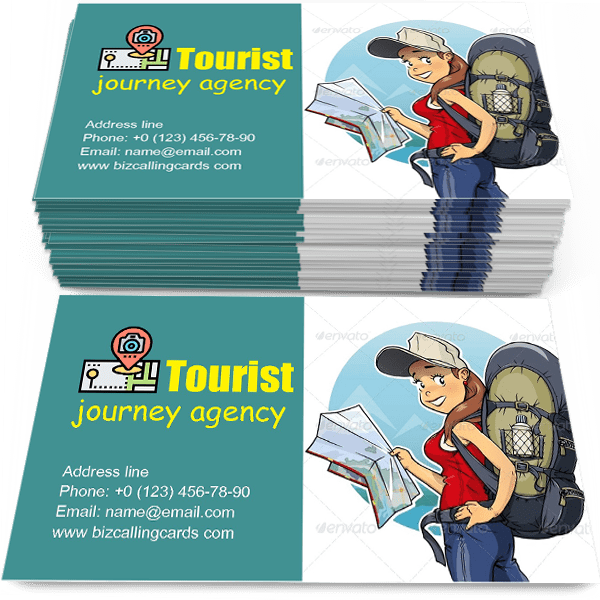Sample of Tourist Girl with Rucksack calling card design for advertisements marketing ideas and promote journey agency branding identity